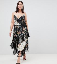 Платье миди с бахромой и комбинированным цветочным принтом ASOS DESIGN Curve - Мульти