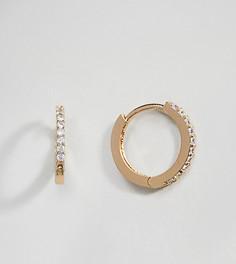 Золотистые серьги-кольца с кристаллами Orelia - Золотой