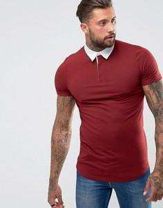 Красная удлиненная футболка-поло регби приталенного кроя с асимметричным подолом ASOS - Красный