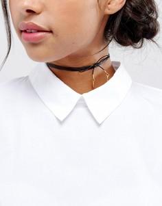 Кожаное ожерелье-чокер с позолоченными подвесками Vanessa Mooney - Черный