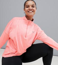 Розовый топ с молнией Nike Running Plus Dry Element - Серый