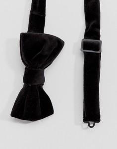 Черный бархатный галстук-бабочка Devils Advocate - Черный