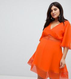 Чайное платье мини с кружевными вставками и пуговицами спереди ASOS DESIGN Curve - Оранжевый