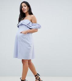 Платье мини с открытыми плечами и оборками ASOS DESIGN Maternity - Синий