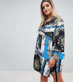 Платье с запахом, принтом и окантовкой ASOS DESIGN Curve - Мульти
