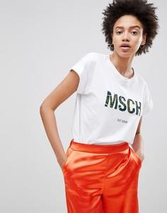 Футболка бойфренда с логотипом Moss Copenhagen - Белый