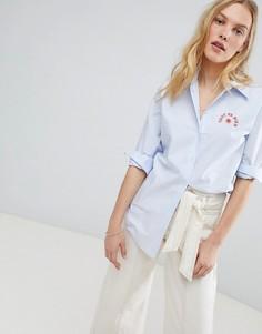 Рубашка с вышивкой на груди Maison Scotch - Синий