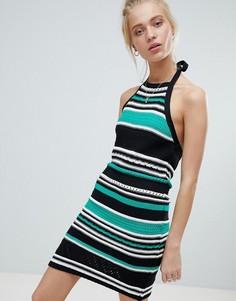 Платье в полоску с завязкой на шее ASOS DESIGN - Мульти