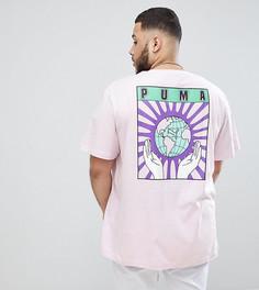 Фиолетовая футболка из органического хлопка с принтом на спине Puma PLUS эксклюзивно для ASOS - Фиолетовый
