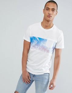 Свободная футболка с принтом на вставке Jack & Jones Originals - Белый