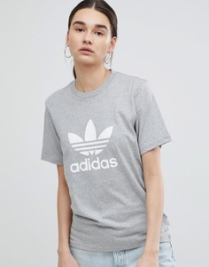 Серая оversize-футболка с логотипом-трилистником adidas Originals - Серый