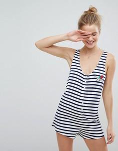 Пижама-ромпер в полоску с вышивкой ASOS - Мульти