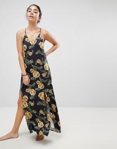 Пляжное платье макси с цветочным принтом и разрезами по бокам Somedays Lovin River Running - Черный