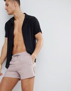 Короткие шорты для плавания пыльно-розового цвета ASOS DESIGN - Коричневый