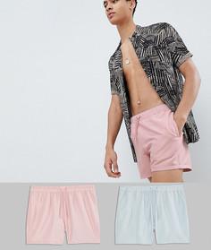 2 коротких шортов для плавания (розовые/серые) ASOS DESIGN - Мульти