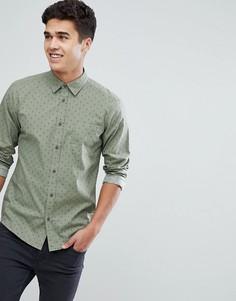 Зеленая рубашка с принтом Solid - Кремовый