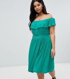 Платье миди с широким вырезом и оборками Brave Soul Plus - Зеленый