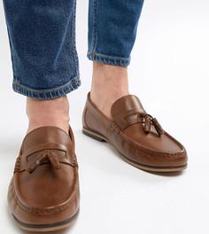 Светло-коричневые кожаные лоферы для широкой стопы с кисточками и бахромой ASOS DESIGN - Рыжий