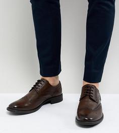 Коричневые кожаные броги для широкой стопы Frank Wright - Коричневый