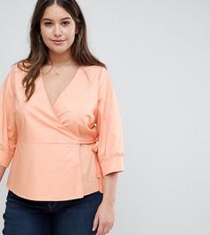 Блузка с запахом и пышными рукавами Fashion Union Plus - Оранжевый