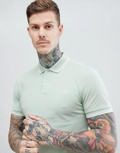 Светло-зеленая футболка-поло с контрастной окантовкой Fred Perry Riviera - Зеленый