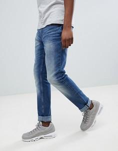 Синие джинсы слим с рваной отделкой Blend Jet - Синий