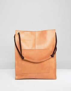 Кожаная сумка-шоппер в винтажном стиле с передним карманом ASOS DESIGN - Рыжий