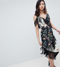 Платье миди с бахромой и комбинированным цветочным принтом ASOS DESIGN Tall - Мульти