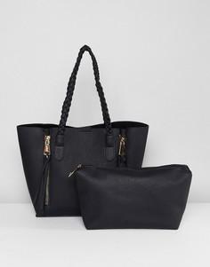 Черная сумка-тоут с молниями Yoki Fashion - Черный