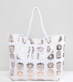 Пляжная сумка с блестящим принтом South Beach - Золотой