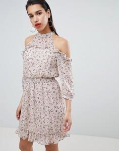 Платье с вырезами на плечах и оборками Vila - Мульти