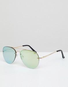 Солнцезащитные очки-авиаторы в золотистой оправе с зелеными зеркальными стеклами ASOS DESIGN - Золотой