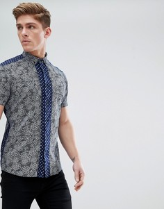 Рубашка с короткими рукавами и мелким цветочным принтом Solid - Темно-синий