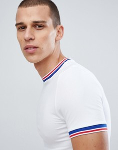 Белая обтягивающая футболка с контрастной окантовкой ASOS DESIGN - Белый