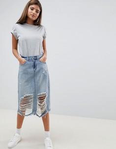 Джинсовая юбка миди с рваной отделкой Noisy May - Синий