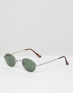 Овальные солнцезащитные очки с зелеными стеклами ASOS DESIGN - Серебряный