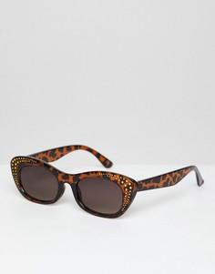 Квадратные солнцезащитные очки в черепаховой оправе с золотистой отделкой ASOS DESIGN - Коричневый