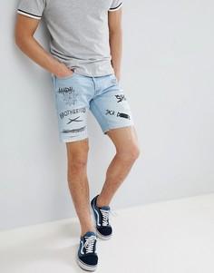 Джинсовые шорты с принтом граффити Jack & Jones - Синий