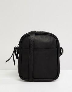 Маленькая кожаная сумка через плечо ASOS DESIGN - Черный