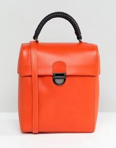 Кожаная сумка через плечо с застежкой ASOS DESIGN - Оранжевый