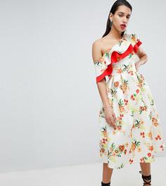 Приталенное платье миди на одно плечо с оборкой True Violet - Мульти