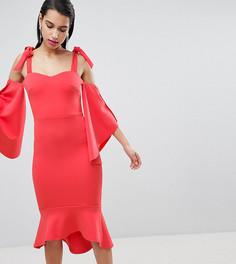 Платье миди с баской True Violet - Красный
