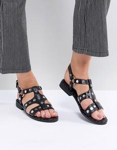 Черные сандалии с заклепками Sol Sana Gunther - Рыжий