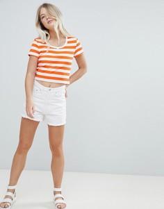 Шорты в винтажном стиле с завышенной талией и необработанными краями Weekday - Белый