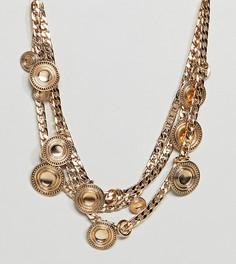 Броское ярусное ожерелье с монетами и массивной цепочкой ASOS DESIGN Curve - Золотой