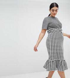 Платье миди в контрастную клетку с баской ASOS DESIGN Curve - Мульти