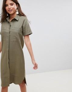 Платье-рубашка миди в стиле милитари ASOS DESIGN - Зеленый