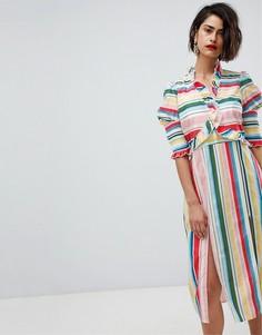 Платье миди в полоску с боковыми разрезами Vero Moda - Мульти