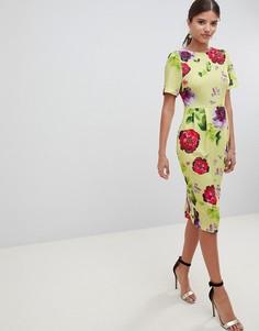 Желтое платье миди с цветочным принтом ASOS DESIGN - Мульти