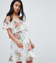 Платье с открытыми плечами и цветочным принтом Parisian Petite - Белый